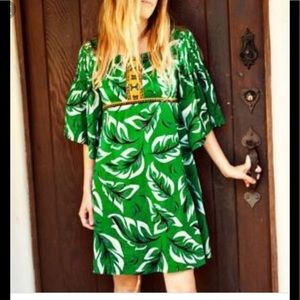 Anthropologie musa embroidered green dress xs